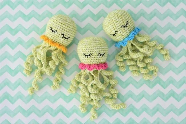 polvo de croche verde claro para bebe