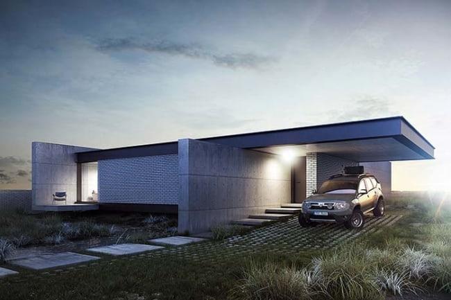 projeto de casa moderna e pequena com garagem
