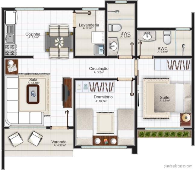 planta humanizada de casa pequena com 70 m² e suite