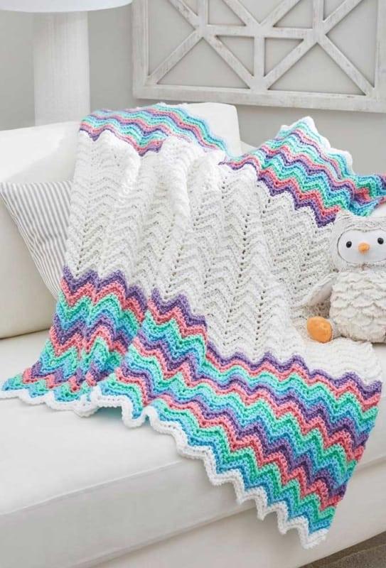 manta colorida em croche afegao