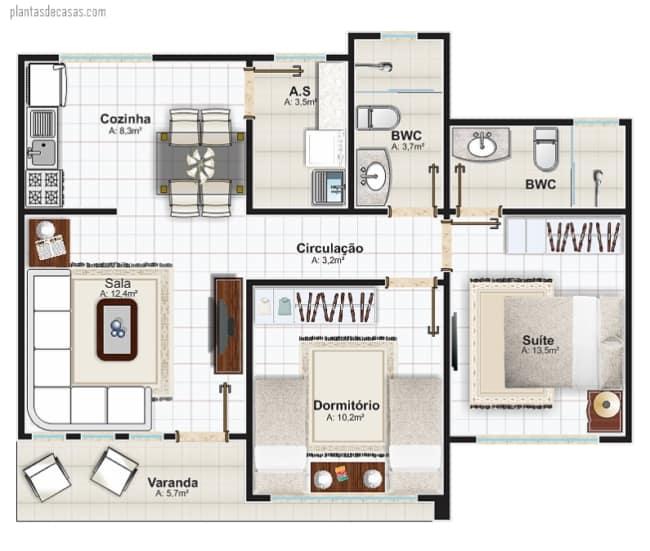 planta de casa pequena e simples com suite