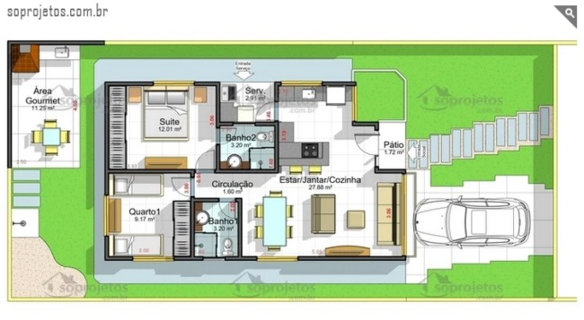 casa de 69 m² com 2 quartos e suite