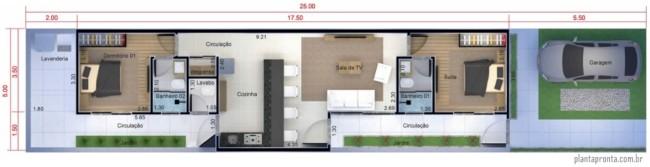 planta de casa pequena com 2 suites