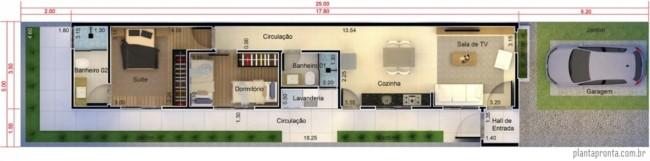 planta de casa pequena com suite