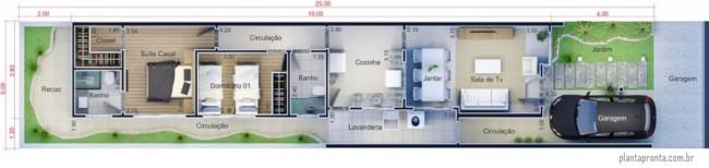 planta de casa pequena com suite e garagem