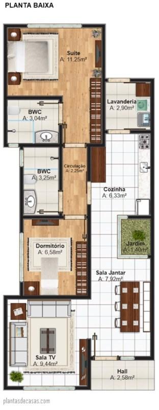 planta de casa pequena com suite e 69 m²