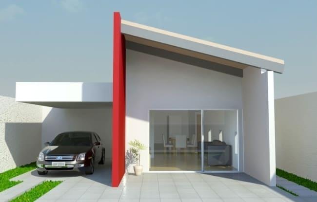 projeto de casa terrea moderna com garagem para 1 carro