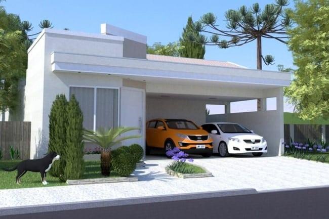 casa terrea pequena e moderna com garagem para 2 carros