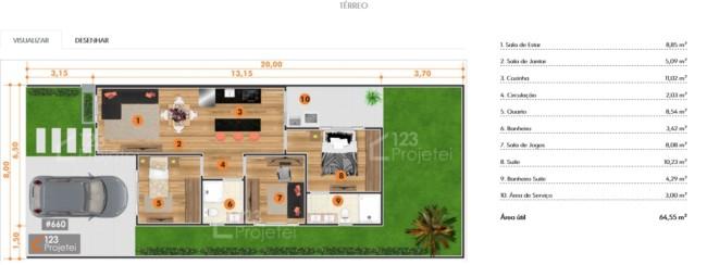 planta de casa pequena com suite e cozinha integrada