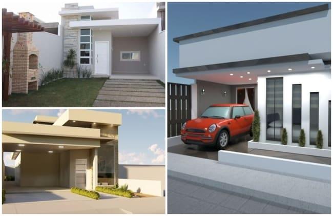fachadas de casas pequenas e modernas com garagem