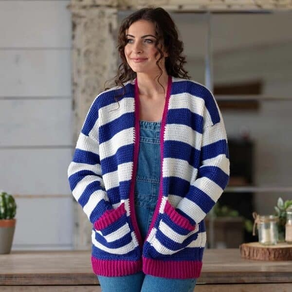 casaco de inverno com bolsos de croche tunisiano