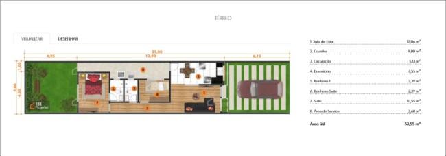planta de casa simples e pequena com suite