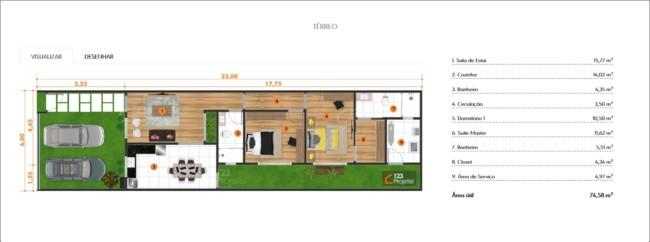 planta de casa pequena com suite e closet
