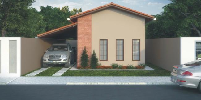 projeto de fachada de casa pequena e simples com garagem lateral coberta