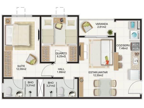 planta para casa pequena com suite