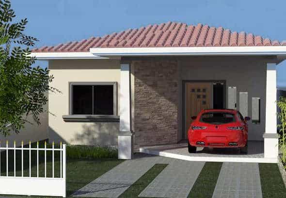 projeto de fachada de casa simples com garagem