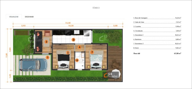 planta de casa simples com 2 quartos e garagem