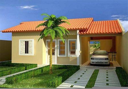 casa simples pequena com garagem pequena