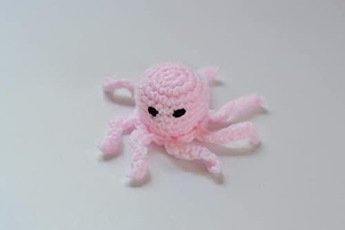 mini polvo de croche em rosa bebe