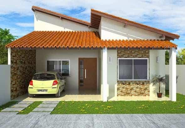 projeto de casa terrea com varanda e garagem