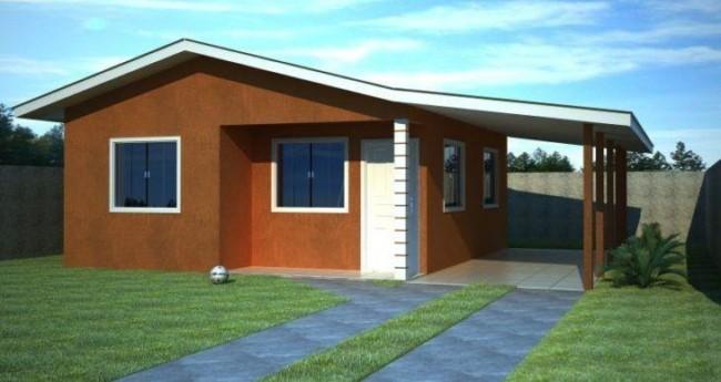 projeto 3D de fachada de casa com garagem lateral