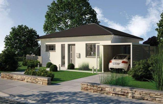 projeto de casa simples e pequena com garagem lateral