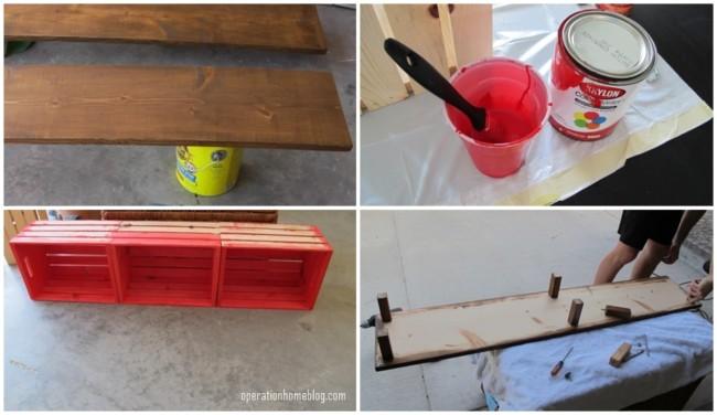 passo a passo de banco de madeira com caixotes