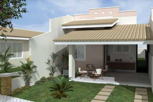 projeto de casa pequena com telhado aparente e garagem pequena