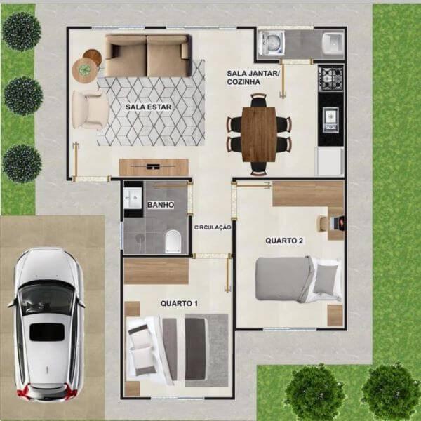 planta humanizada de casa pequena com garagem