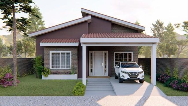 projeto casa terrea com telhado aparente e garagem
