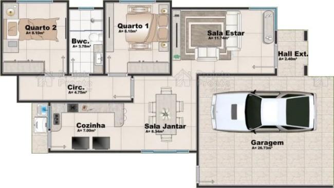 projeto para casa simples e pequena com garagem