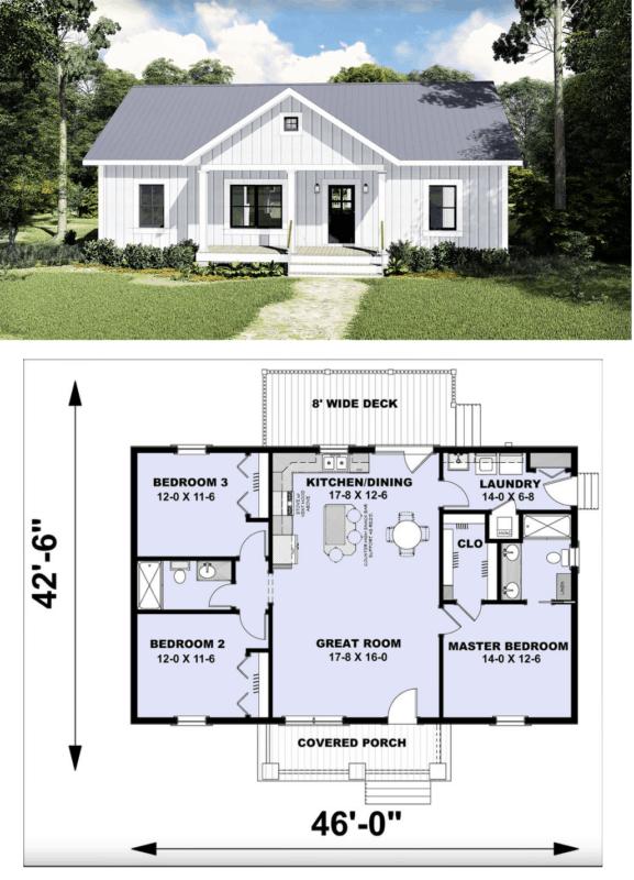 planta de casa americana com conceito aberto e 3 quartos