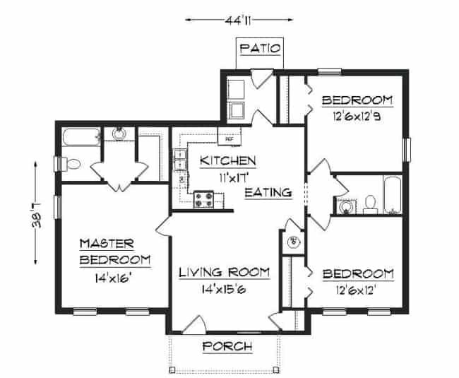planta de casa americana com 3 quartos