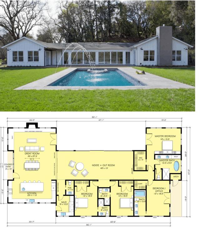 planta de casa americana com 4 quartos e piscina