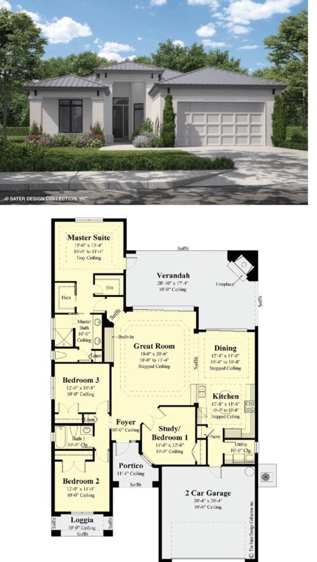 projeto e planta de casa americana com 4 quartos e garagem