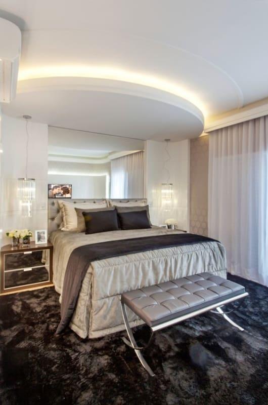 quarto de luxo com forro de gesso