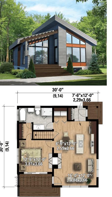 planta de casa americana moderna com 1 quarto