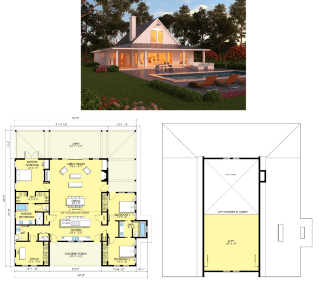 planta de casa americana com conceito aberto e piscina
