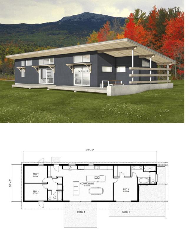 planta de casa americana moderna e terrea