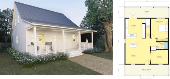 planta de casa americana pequena com 1 quarto e varanda