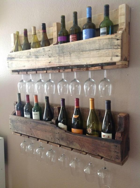 prateleira de pallet para vinhos e tacas