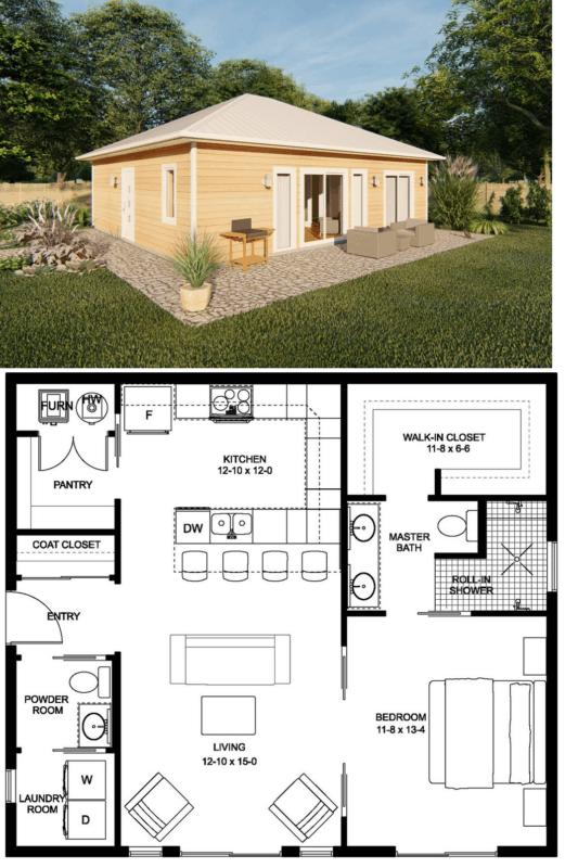 planta de casa americana pequena com conceito aberto