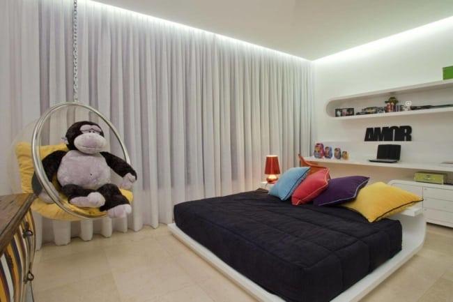 quarto moderno com forro de gesso tabicado com led