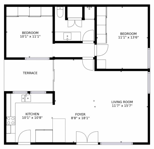 planta de casa americana com conceito aberto e 2 quartos