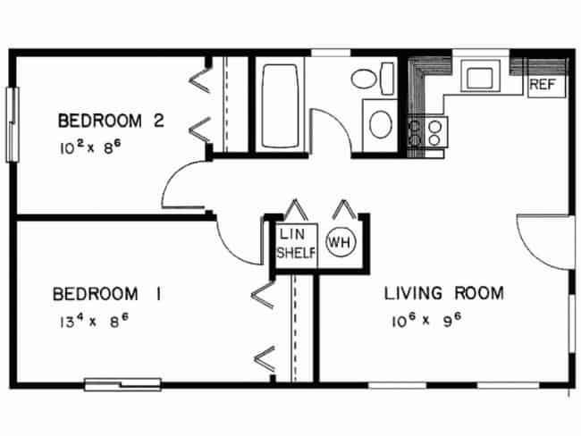 planta de casa americana simples com 2 dormitorios