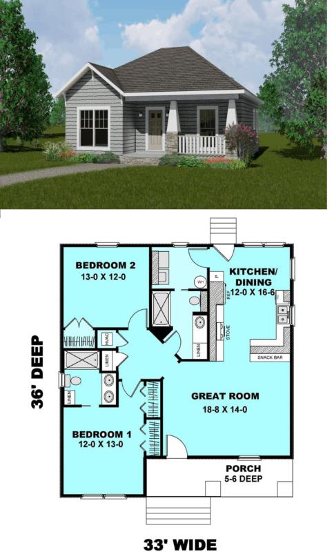planta de casa americana pequena com 2 quartos