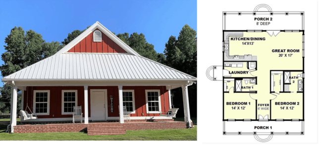 planta de casa americana com 2 quartos e varanda