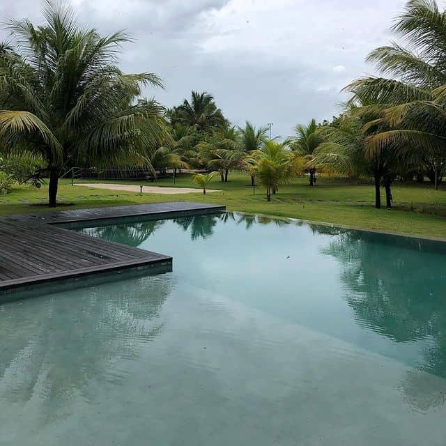 Paisagismo espetacular integrando o jardim com a piscina