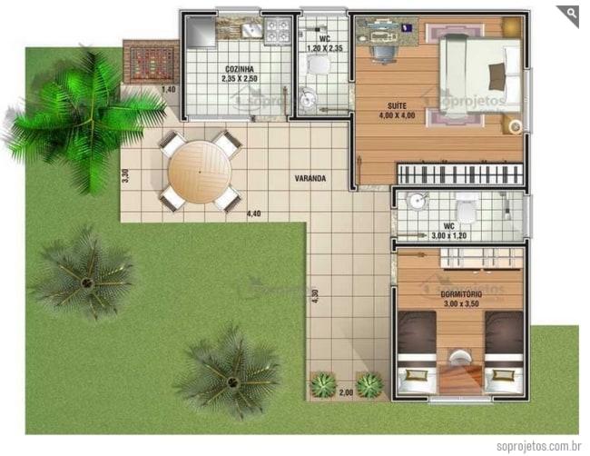 planta de casa em L com 2 quartos e 69 m²
