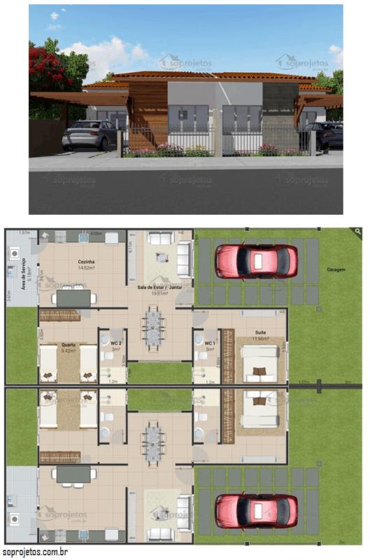 planta de casa geminada terrea com 2 quartos